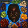 Hervé Di Rosa, Tête aux petits tas, Ghana, 1994. Huile sur panneau de bois. 122 x 122 cm