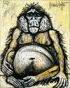 Bernard Buffet, Mes singes, Orang-Outan femelle, 1997. Huile sur toile. 162 x 130 cm.