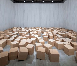255 prepared ac-motors, rope, cardboard boxes 30x30x30 cm, installation, Zimoun