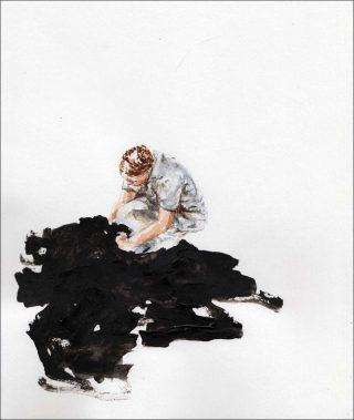 En mangeant de l'énergie noire, aquarelle, Pauline Zenk