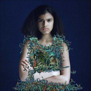 Eva d'après Ucello, peinture sur photo, Elene Usdin
