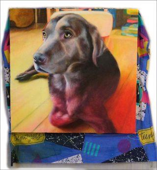 Peinture chienne KIWI, peinture, Géraldine Michel