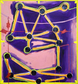 La grue touche les étoiles, peinture, Florent Girard