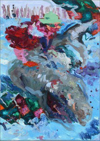 À dos de requin, peinture, Miryam Haddad