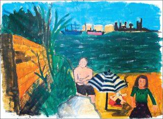 Port de bouc, peinture, Raphaëlle Paupert-Borne