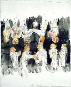 Eine unvergessene Begegnung (une rencontre inoubliable) 2002,  Georg Baselitz