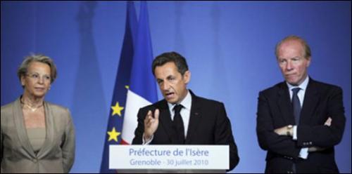 Nicolas Sarkozy met la déchéance de nationalité au cœur de sa politique sécuritaire. Grenoble, 30 juillet 2010.
