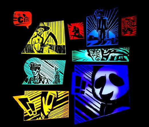 Qingyuan Liu, Only City, 2009. Gravure sur bois, poster et boîtes lumineuses