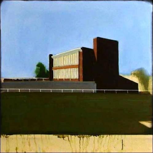 Jérémy Liron, Paysage 41, 2007. Huile sur toile. 123 cm x 123 cm. présenté avec cadre sous plexiglas
