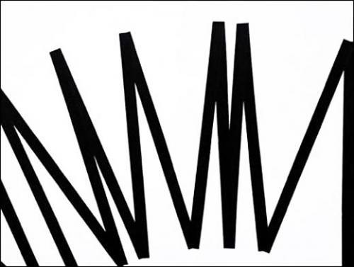 François Morellet, π piquant 2, 1=3°, dessin suite de π piquant 1, 1=3° (n°04037) …7932384626433…, 2006. Acrylique sur papier (Arches aquarelle) sur comacel sous boîte plexi. 46 x 61 cm.Courtesy Galerie Aline Vidal © François Morellet