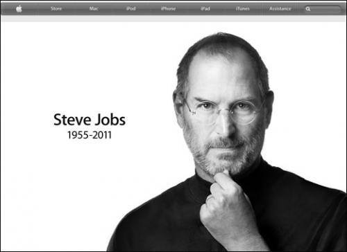 Portrait de Steve Jobs publié le jour de son décès, le 06 oct. 2011, sur la page d'accueil du site internet d'Apple.