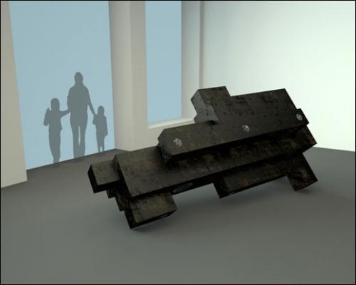 Thomas Léon, Sans titre (Ghost Tower), 2011. Modélisation dans l'espace.