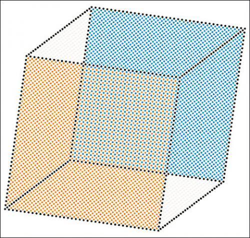 Benjamin Sabatier, Kit IBKNéo-plasticisme postmoderne, OBBW 5412, 2008. Punaises, boite en carton, manuel de montage, outils, patron. 108 x 108 cm.