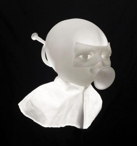Philippe Mayaux, Les Fantômes de l'autorité, 2012. Impression 3D, laiton, bois, MP3. 195 x 25 x 25 cm