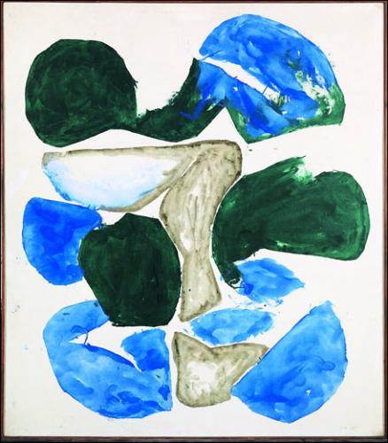 Simon Hantaï, Meun, 1968. Huile sur toile. 120,6 x 105 cm<br><br>Collection particuliere, © Adagp Paris 2013