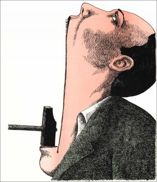 Marteau pilon poil au menton, lithographie, Roland Topor