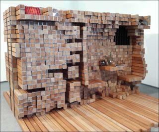Plan symbiotique, espace séparateur en bois, Mameluca Studio