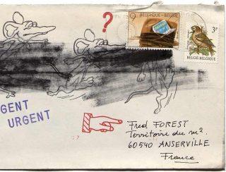 Correspondance envoyée à Fred Forest, président du Territoire, mail art, Fred Forest