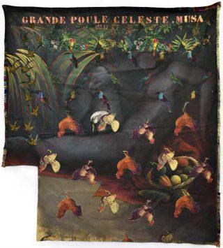 Grande Poule Céleste (Leda), encre sur textile, Hassan Musa