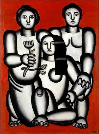 Trois femmes sur fond rouge, peinture, Fernand Léger