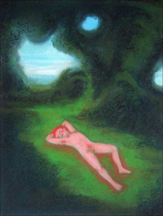 Homme nu dans l'herbe, dessin, Guillaume Pinard