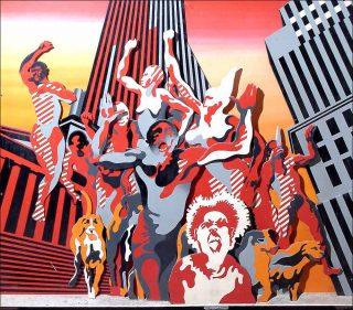 Les hommes rouges, bas-relief, Henri Cueco