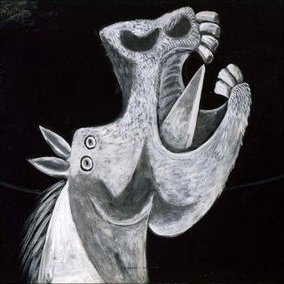 Étude pour Guernica (Tête de cheval), peinture, Pablo Picasso