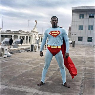 Maputo Diary, Superman on the roof of the new shopping mall, photo, Ditte Haarløv Johnsen