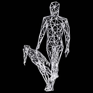 Miguel Chevalier, Body Vowels - The Walker (white wireframe), 2019.