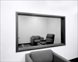 Lynne Cohen, Untitled (Observation Room with Two-Way Mirror), 1980-1989.