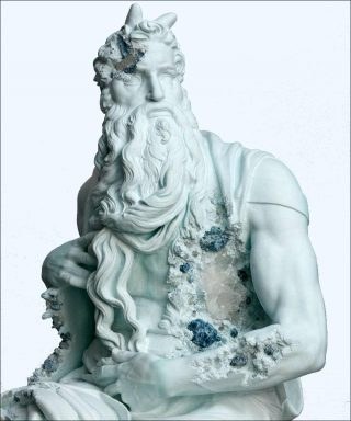 Daniel Arsham, Blue Calcite Eroded Moses (détail), 2019.